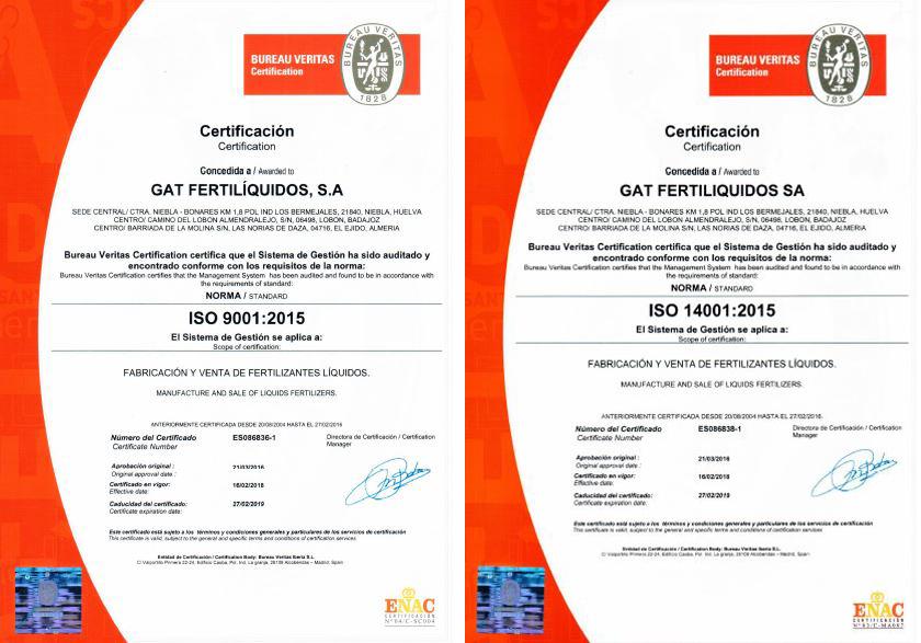 Servicios: Calidad Certificada - Gat Fertilíquidos